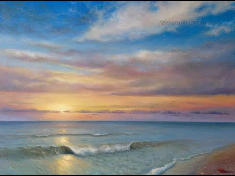Oil painting of the ocean at sunset