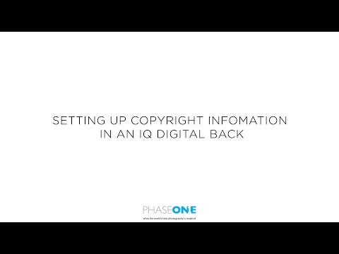 Support | Adding copyright information into your IQ digital back | Phase One
