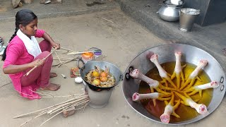 Chicken Leg Piece Fry KFC Style || Chicken Curry Cooking By Village Tribe People / chicken fry curry