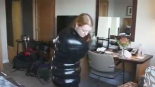 Inflatable latex bondage tryout