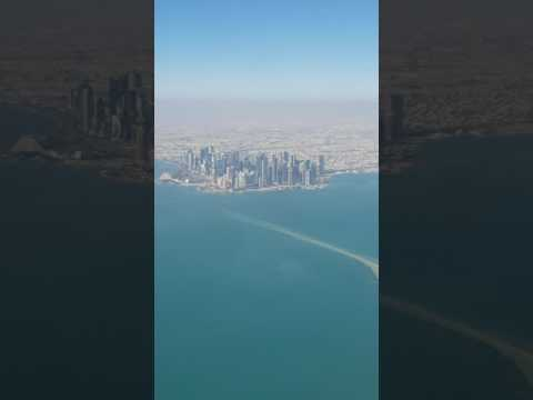 Ariel view of Doha city from Qatar Airways only on Travel TV