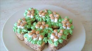 Украшаем кремом Пирожное ГРИБОЧКИ на ПЕНЁЧКЕ