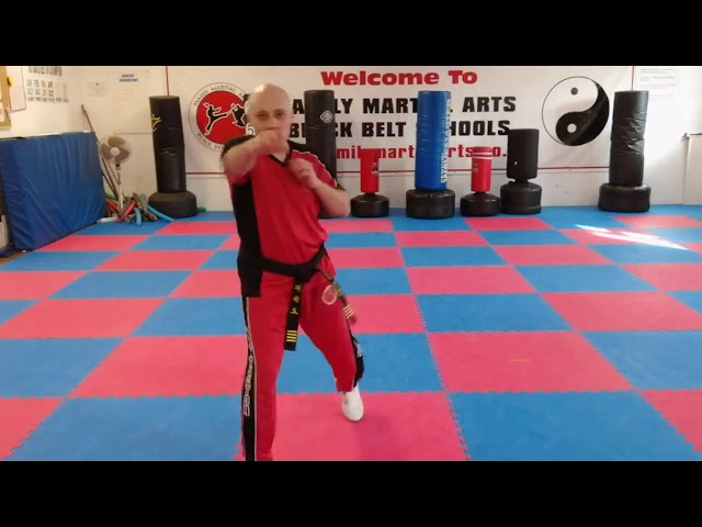 Mr Tandoh with 4x3 move combinations for the Little Ninjas to practice and learn