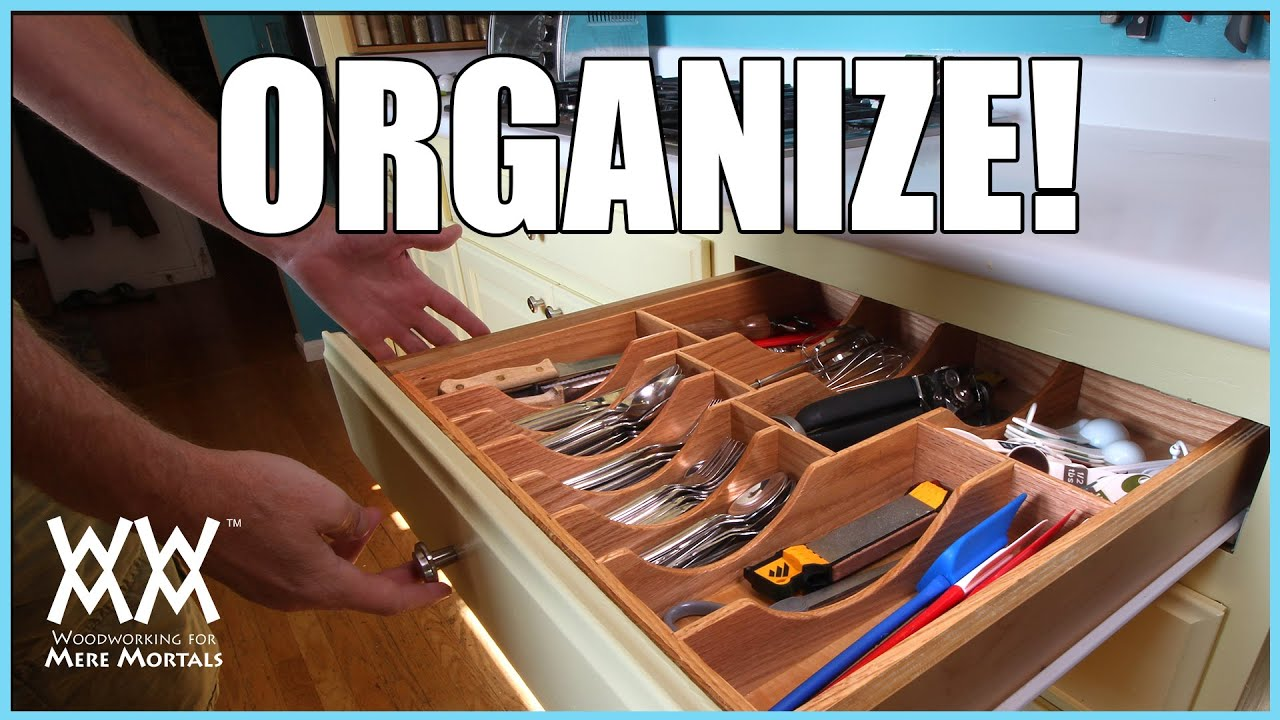 Kitchen Drawer Organizer. DIY woodworking project - YouTube