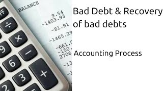 What is  Bad Debt, What is  Recovery of bad debts | Journal | Ledger | CA CPT | CS & CMA | Class 11