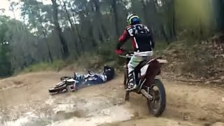 Dirt bike crash - Getting run over by another motorbike!
