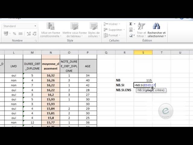 19 MS Excel : Fonctions NB Et NB.SI ET NB.SI.ENS