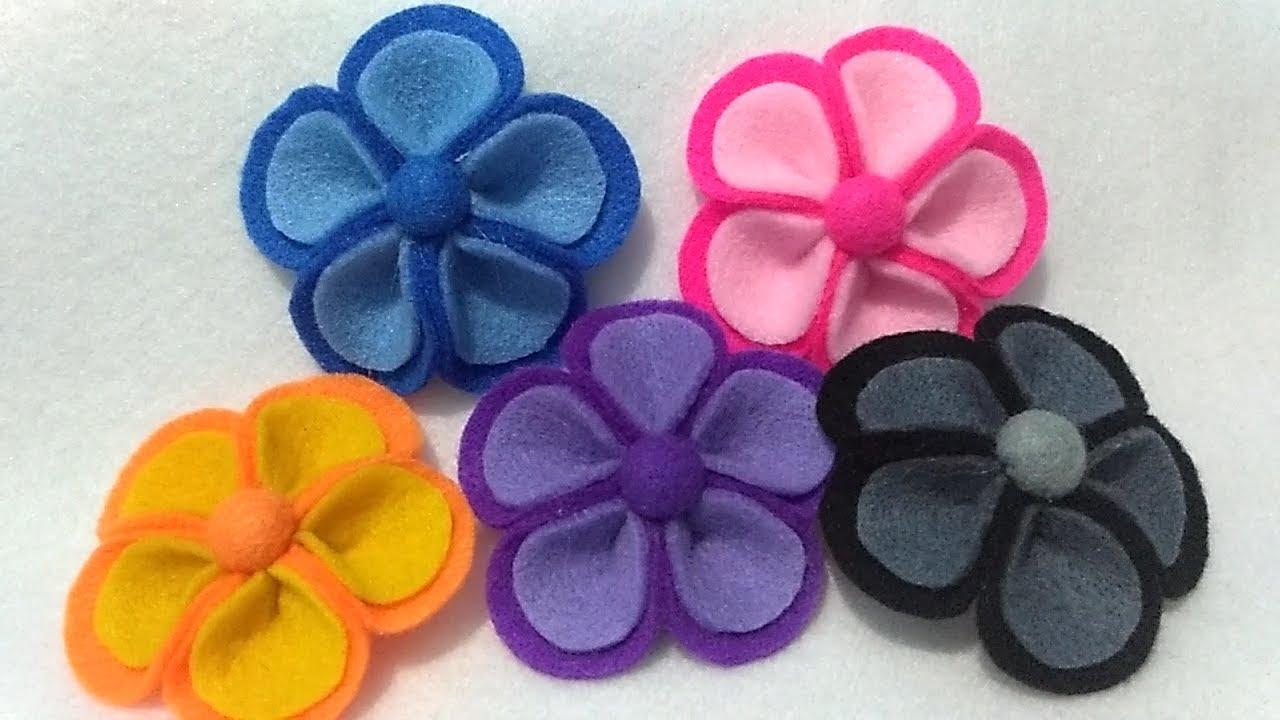 Tutorial Bros Bunga Kamboja Dari Kain Flanel How To Make A Felt Flower Brooch Youtube