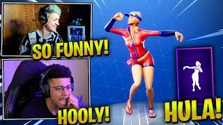 NINJA REACTS *NEW* HULA EMOTE/DANCE - Fortnite Epic & Funny Moments (Fortnite Battle Royale)