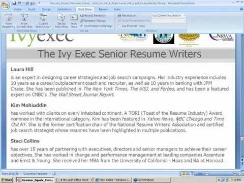 Resume = Personal Brand - How to Get it Right - Ivy Exec Webinar Video