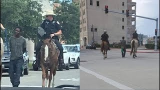 White cops on horses in Texas parade Black man through streets by rope like a SLAVE!