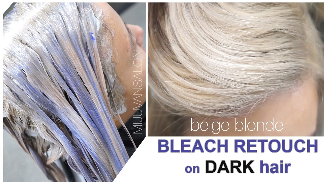 Beige Blonde Bleach Retouch On Dark Hair Without Getting