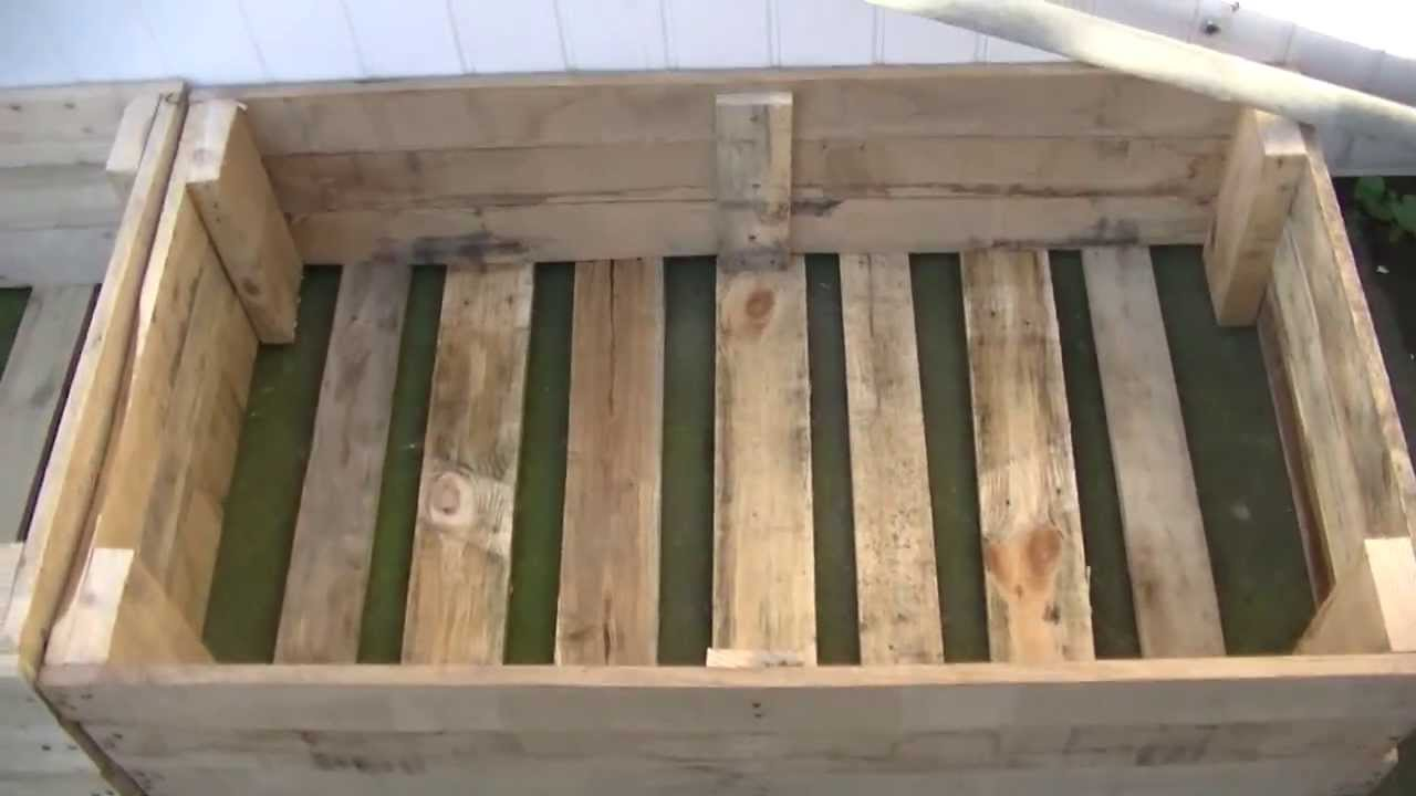 Raised beds for free from old pallets youtube for Movable pallets