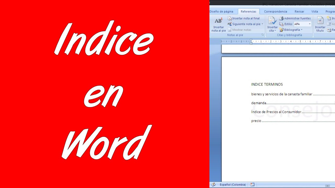Word 2007 2010 Como hacer un indice en word - YouTube