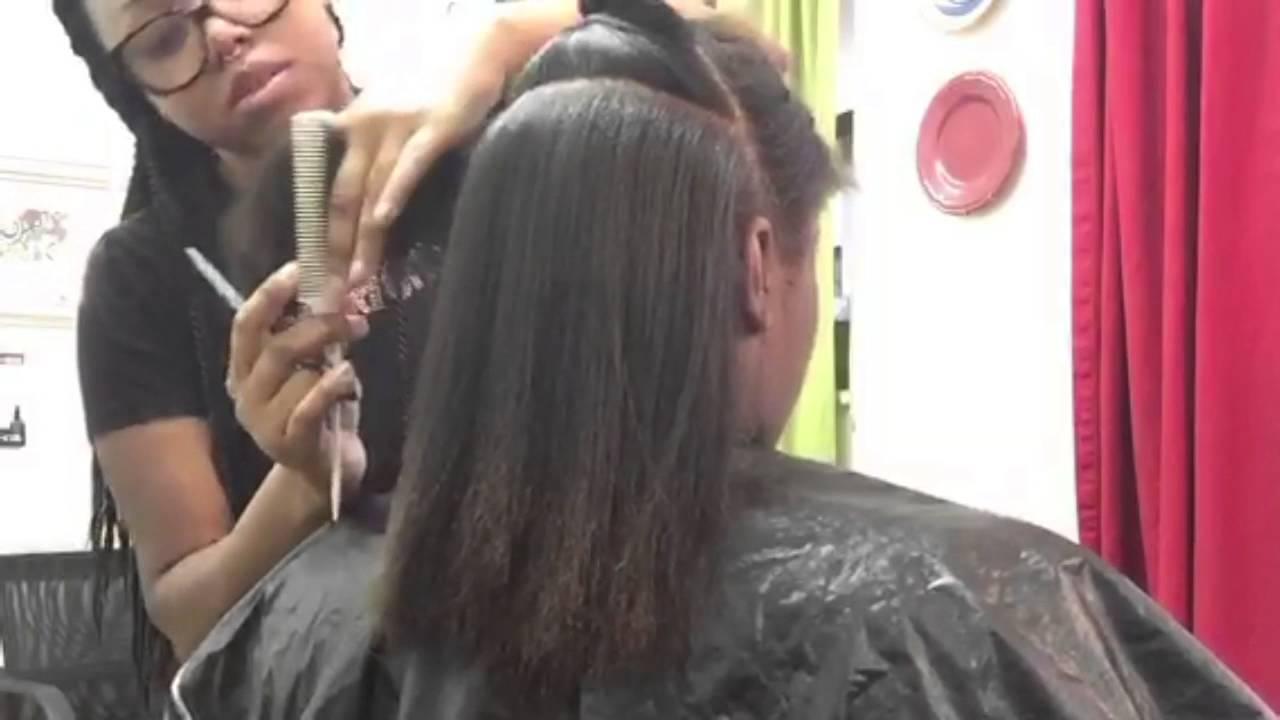 flat iron and trim natural hair