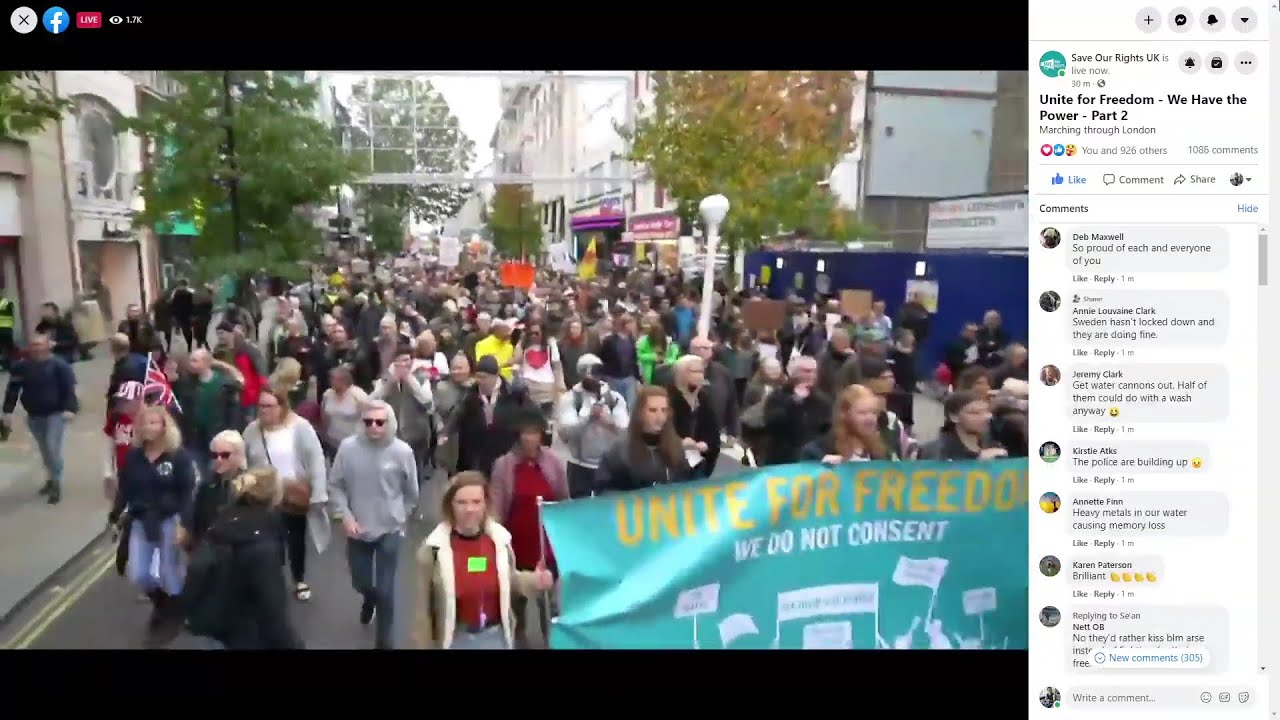 Protestors denounce latest Coronavirus restrictions in London 24/10/2020