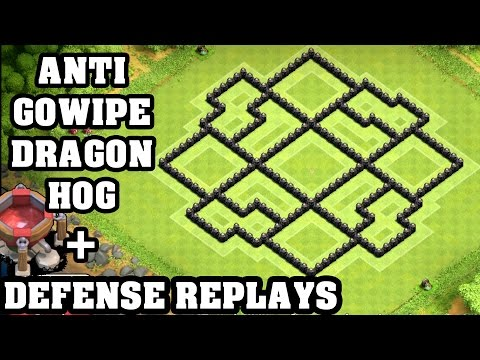 Clash of Clans - Town hall 8 (Th8) Trophy Base + Defense REPLAY - ANTi GoWipe ANTi Dragon ANTi Hog