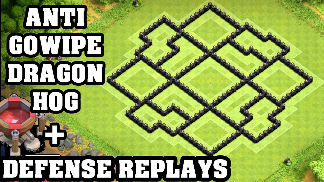 Clash of clans town hall 8 th8 trophy base defense replay anti