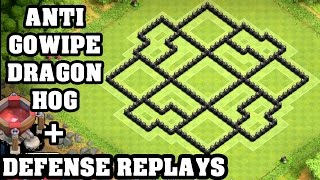 Clash of Clans - Town hall 8 (Th8) Trophy Base + Defense REPLAY - ANTi GoWipe ANTi Dragon ANTi Hog