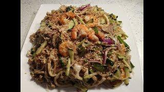 Азиатский салат с фунчозой и морепродуктами.Для любителей остренького.
