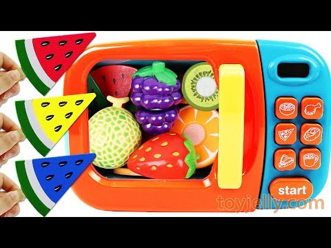 Microwave Toy Surprise Wooden Toys Cutting Fruits Ice Cream  Nursery Rhymes Songs Fun Video for Kids