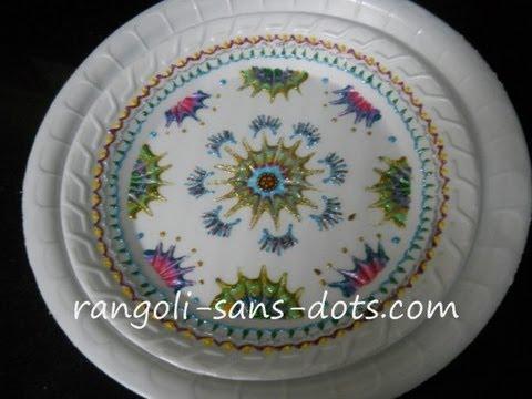 Plate Art Decoration Idea Thermocol Craft Sudha Balaji Youtube