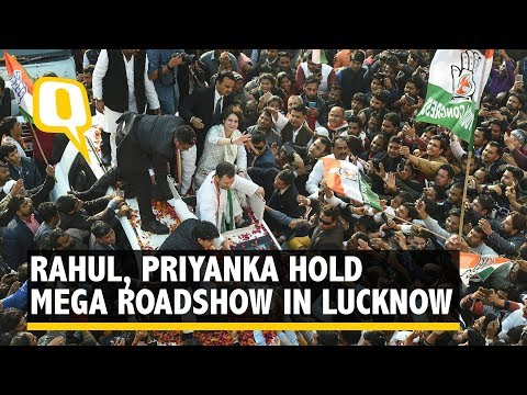Rahul Gandhi, Priyanka Gandhi Hold Mega Roadshow in Lucknow, UP