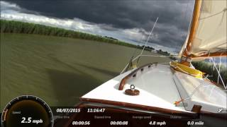 Sailing on the Norfolk Broads - Sailing down the Lower Bure