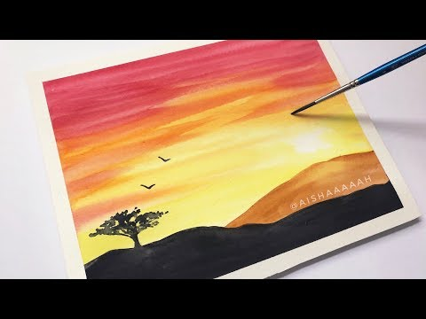 Easy Watercolor Sunset Tutorial for Beginners Step By Step