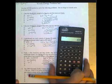 Kinetic Energy Problem Set 1 Answers - YouTube