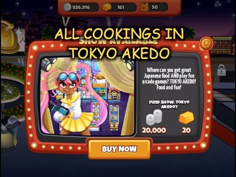All Cookings In Tokyo Akedo (Cooking Dash)