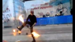 В Уфе во время файер-шоу на глазах у зрителей загорелся актер