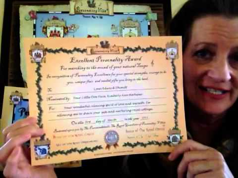 Personality-Ville Award Certificate
