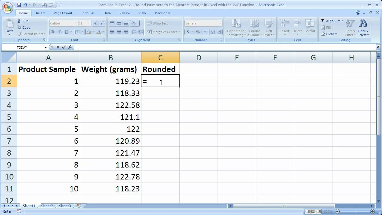 Formulas in Excel 2 - Round Numbers to Next Lowest Integer in ...