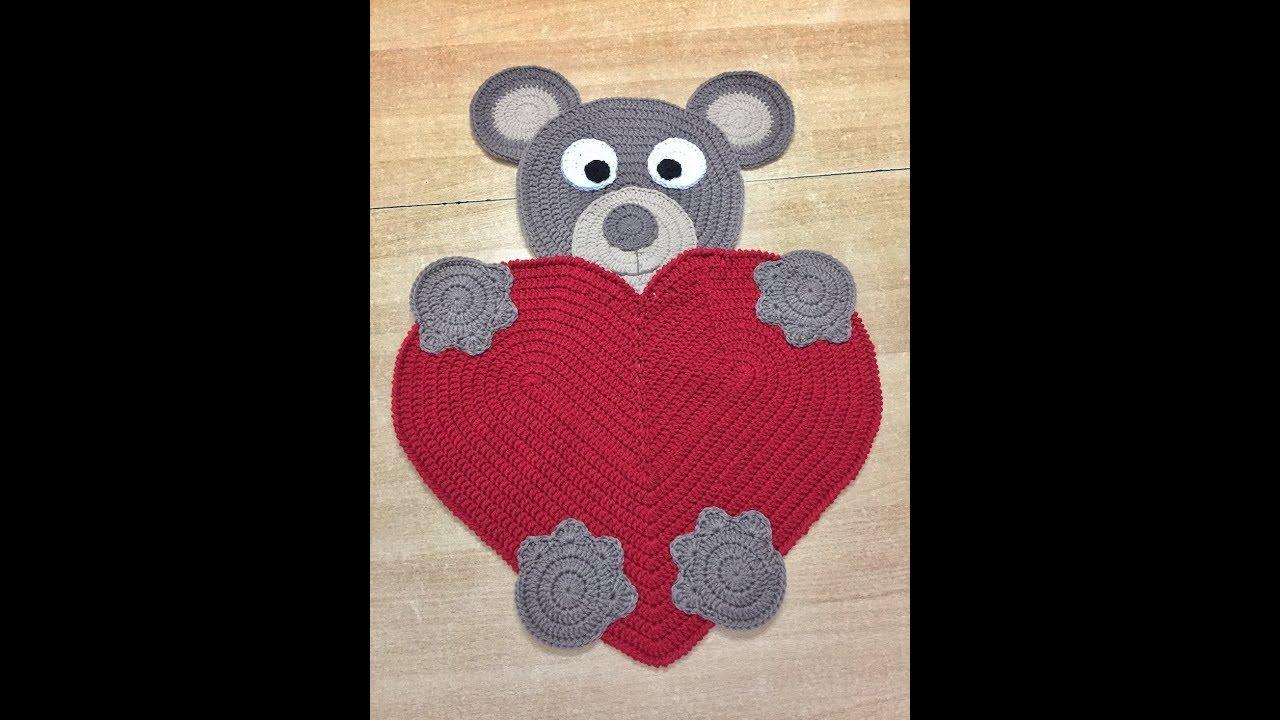Tuto tapis coeur nounours au crochet youtube - Coeur nounours ...