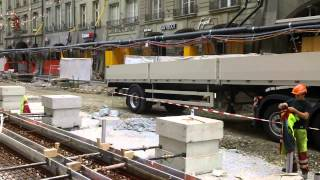 Tram line construction Bern Switzerland
