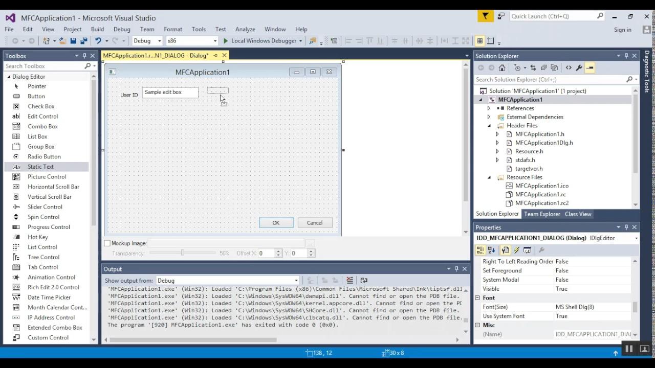 Visual Studio 2015 Visual C++ MFC 2017 - 02 - Basic Setup, Design, and  Functionality