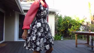 ootd - waterme* red shirt and shoes with black white flower dress