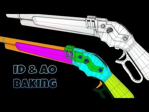 Terminator Shotgun - Blender: ID e AO baking