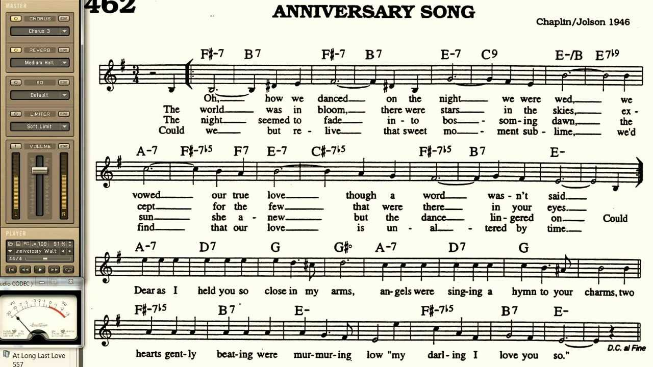 Anniversary Song playalong for Cornet Trumpet Vocal or any