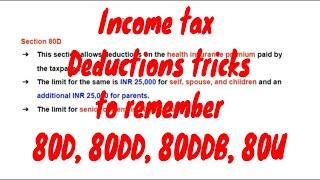 Income tax deductions tricks 80D, 80DD, 80DDB, 80U