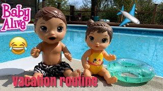 Baby Alive Luke and new baby sister Vacation Morning Routine