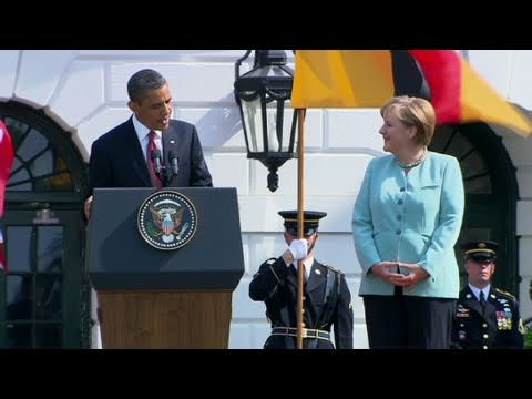 CNN: President Obama welcomes German Chancellor Angela Merkel to the White House