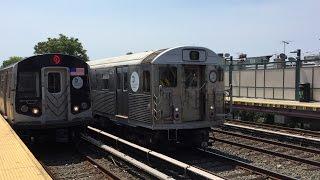 NYC Subway HD 60fps: Kawasaki R160B Alstom & Siemens Q Trains @ Neck Road & Avenue U (6/26/16)