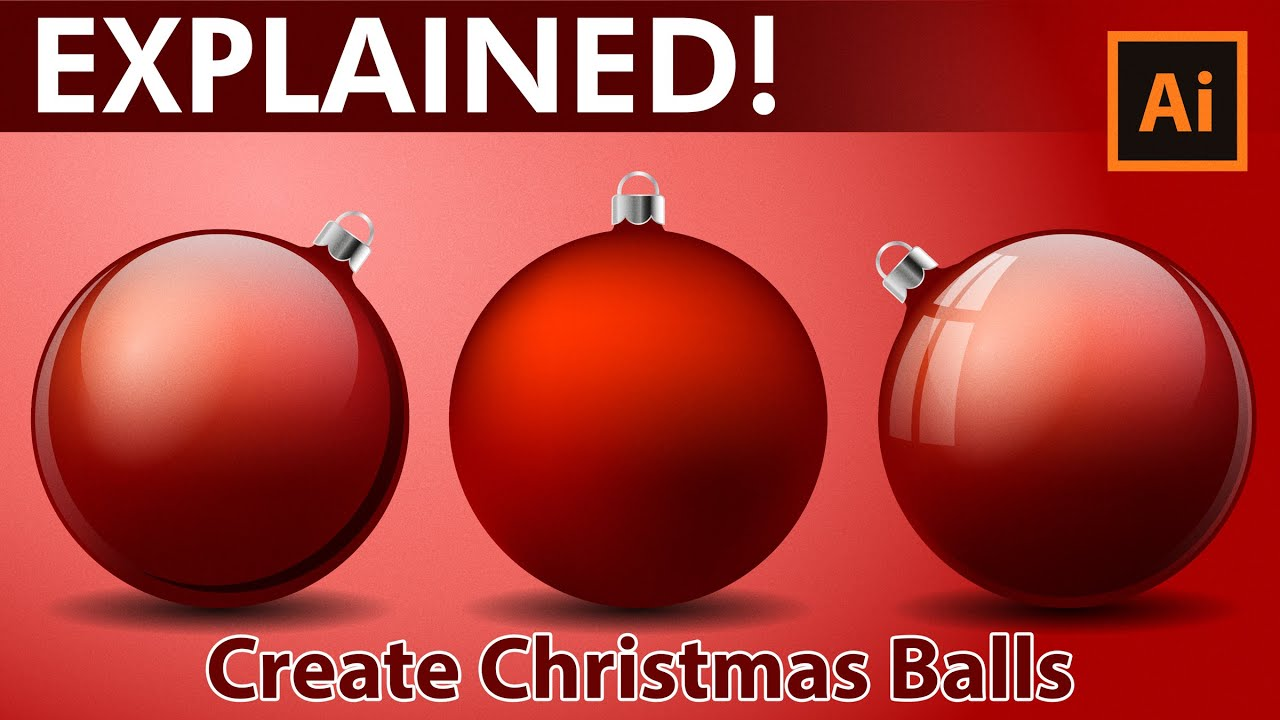 Christmas Balls.Illustrator Tutorial How To Create Christmas Balls