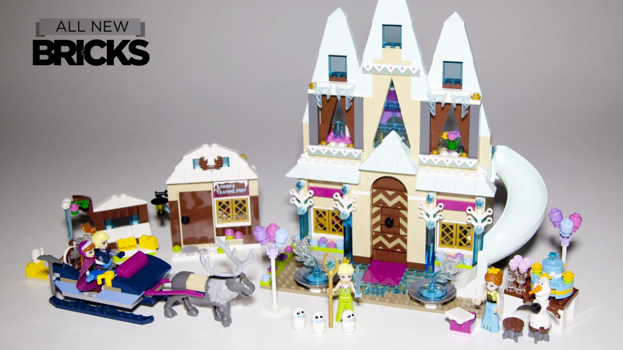 Lego Disney Frozen Arendelle Castle Celebration With Anna And Kristoffs Sleigh Adventure Speed Build Youtube