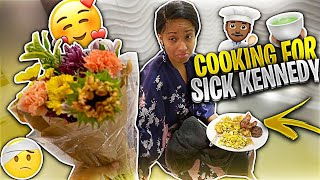 COOKING FOR MY SICK GIRLFRIEND!! **Made her feel better**