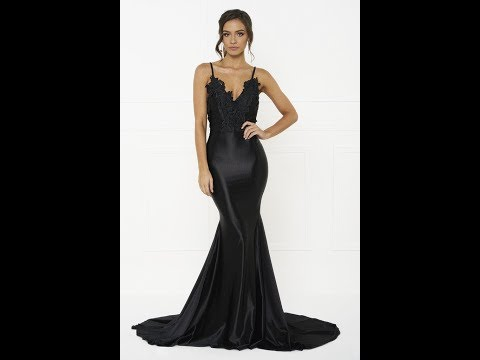 Honey Couture PENELOPE Black Formal Gown Dress