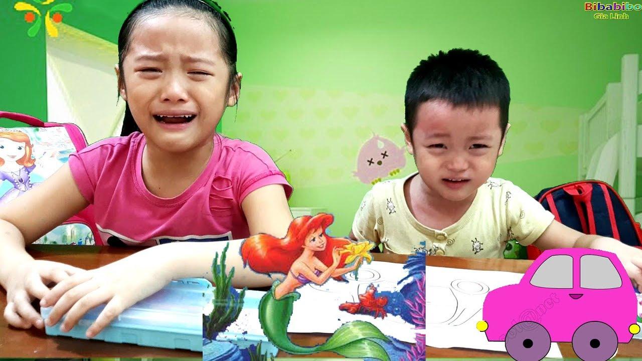 Gia Linh và em Cò khóc đòi mẹ quay video tô màu NÀNG TIÊN ...