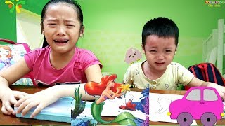 Gia Linh và em Cò khóc đòi mẹ quay video tô màu NÀNG TIÊN CÁ và Ô TÔ